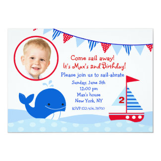Whale Nautical Sailboat birthday party invitations