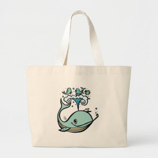 Whale of a Captain! by Tiki tOny Large Tote Bag