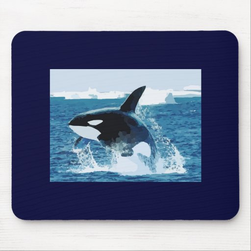 Whale Orca  Water Animal Sea Ocean Fish Peace Love Mouse Pad