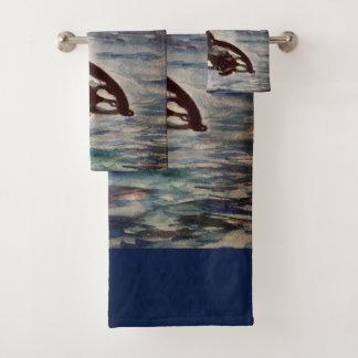 Whale, Orca Watercolor drawing Bathroom Towel Set