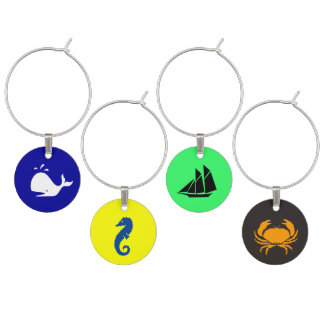 Whale_Seahorse_Clipper_Crab Wine Glass Charms