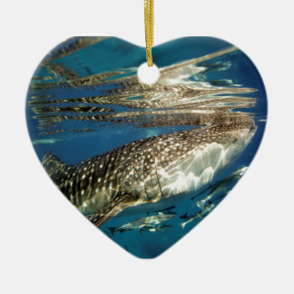Whale shark and remora fish ceramic heart decoration