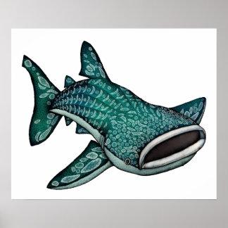 Whale Shark Illustration Poster