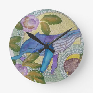 Whale shimmer round clock