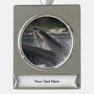 whale silver plated banner ornament