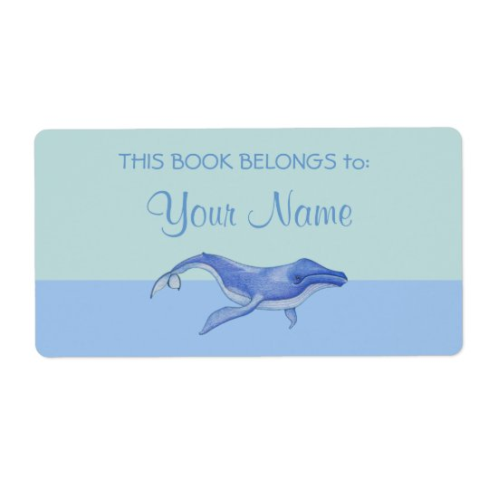 Whale solo Bookplate Sticker Label Shipping Label