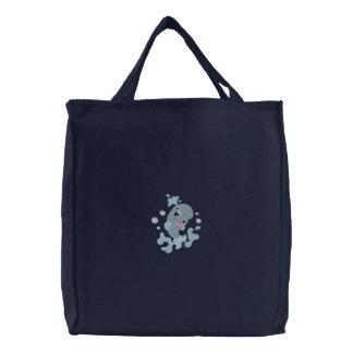 Whale Splash Embroidered Tote Bag