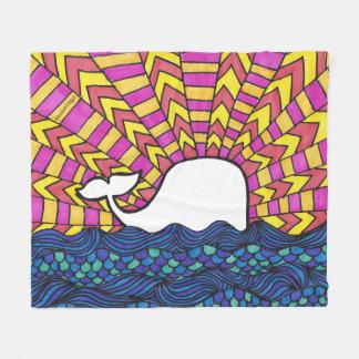 Whale Sunset Fleece Blanket