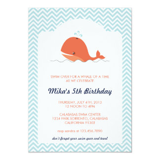 Whale Swim Summer Birthday Party Invitation