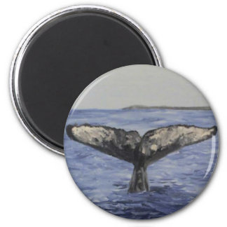 Whale Tail 6 Cm Round Magnet