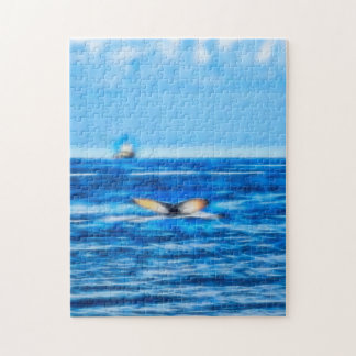 Whale Tail and Boat on the Horizon with Clouds Jigsaw Puzzle