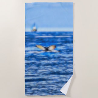 Whale Tail and Ship on the Horizon Fractal in Blue Beach Towel