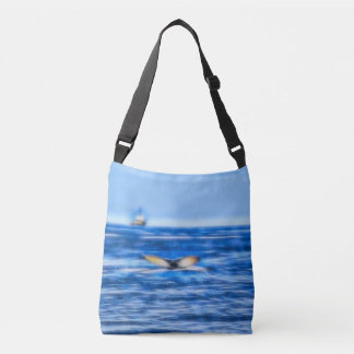 Whale Tail and Ship on the Horizon Fractal in Blue Crossbody Bag