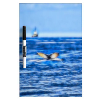 Whale Tail and Ship on the Horizon Fractal in Blue Dry Erase Board