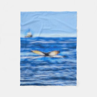 Whale Tail and Ship on the Horizon Fractal in Blue Fleece Blanket