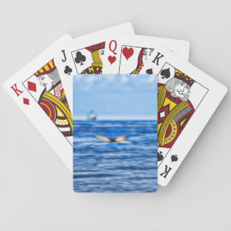 Whale Tail and Ship on the Horizon Fractal in Blue Playing Cards