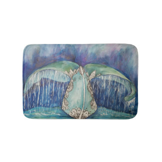Whale tail bath mat