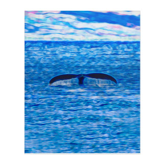 Whale Tail Fractal Blue and Pink Acrylic Wall Art