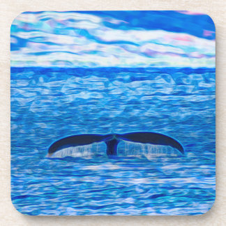 Whale Tail Fractal Blue and Pink Drink Coaster