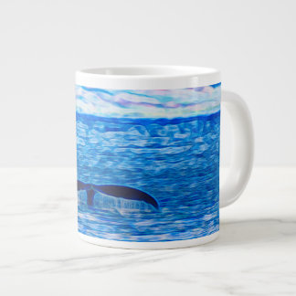 Whale Tail Fractal Blue and Pink Giant Coffee Mug