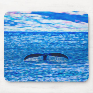 Whale Tail Fractal Blue and Pink Mouse Pad