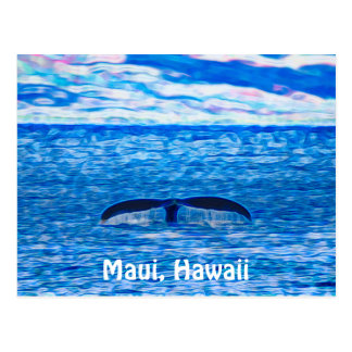 Whale Tail Fractal Blue and Pink Postcard