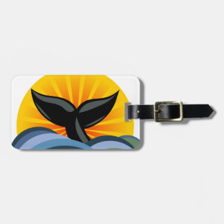 Whale Tail Ocean Waves Sunburst Personalized Luggage Tag