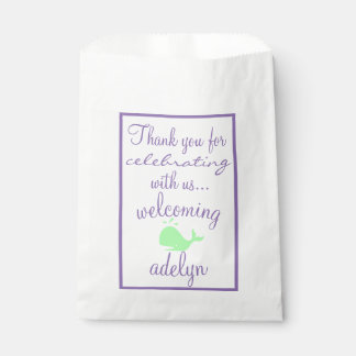 Whale Thank You  Baby Shower Guest Favor Favour Bags