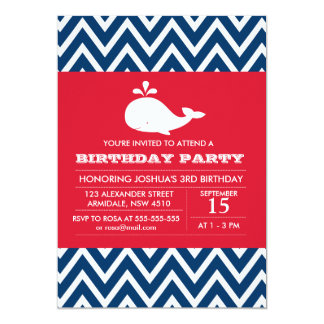 Whale theme birthday boy party invitation