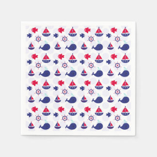 Whale Watching on Blue Paper Serviettes