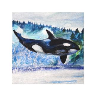 Whale Watercolor Art Canvas Print