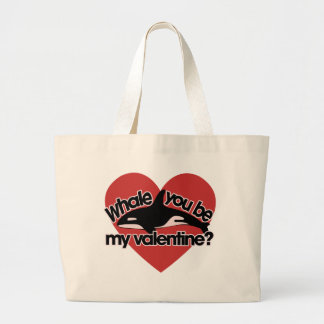 Whale you be my Valentine Jumbo Tote Bag
