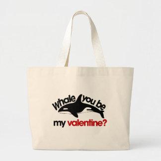 Whale you be my Valentine Jumbo Tote Bag