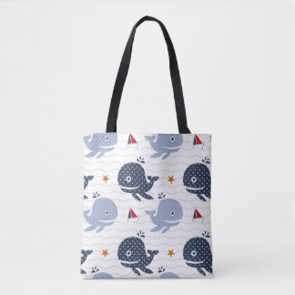 Whales and Boats Large Tote Bag