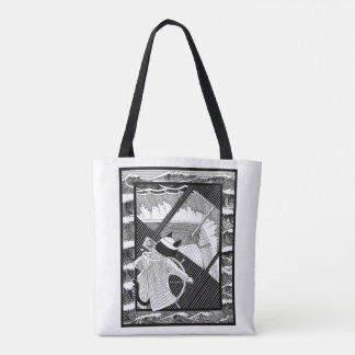 whales and cat tote bag