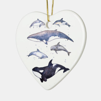 Whales and Dolphins of Scotland Ceramic Heart Decoration