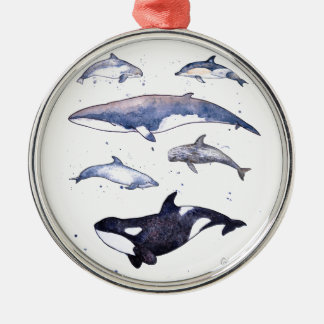 Whales and dolphins of Scotland Silver-Colored Round Decoration