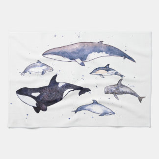 Whales and Dolphins of Scotland Tea Towel