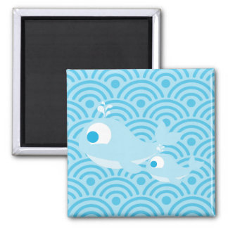 Whales and Waves Square Magnet