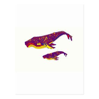 Whales Art Postcard