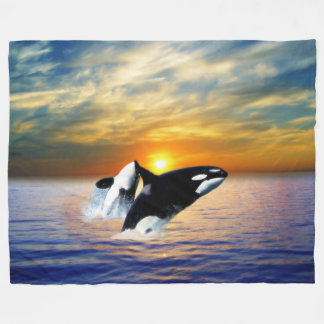 Whales at sunset fleece blanket