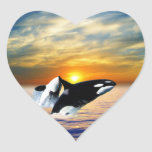 Whales at sunset heart stickers