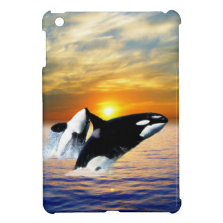 Whales at sunset iPad mini cover