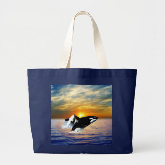 Whales at sunset large tote bag