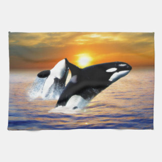 Whales at sunset tea towel
