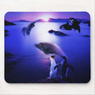Whales dolphins penguins ocean sunset mouse pad