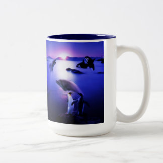 Whales dolphins penguins ocean sunset Two-Tone mug