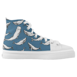 Whales High Tops Printed Shoes