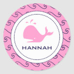 Whales Tale Pink & Wavy Navy Invitation Round Stickers