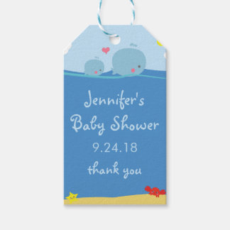 Whales Under the Sea Baby Shower Thank You Tag
